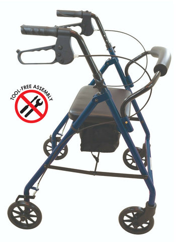 Wave Medical Premium Rollator Walker with Wheels and Padded Seat