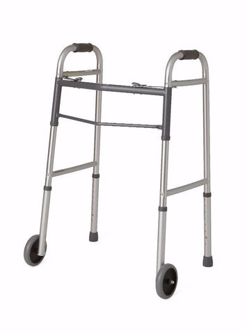 "Bariatric Heavy Duty Folding Walker with Two 5"" Wheels by Medline"