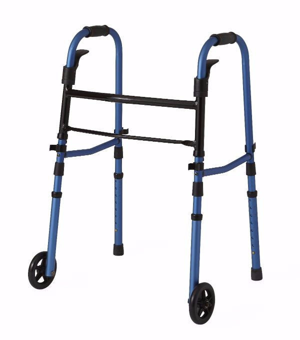 "Blue Folding Paddle Walker with 5"" Wheels by Medline"