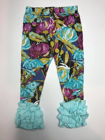 Aqua Ruffle Leggings