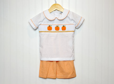 Boys Peter Pan Collar Pumpkin Set