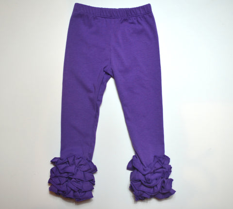 Purple Ruffle Leggings