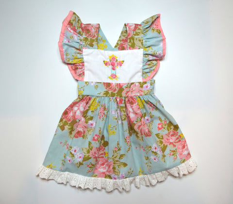 Floral Cross Pinafore w/ Criss-cross Back