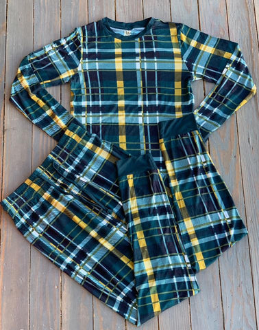 Women's Plaid & Gold Pajama Set