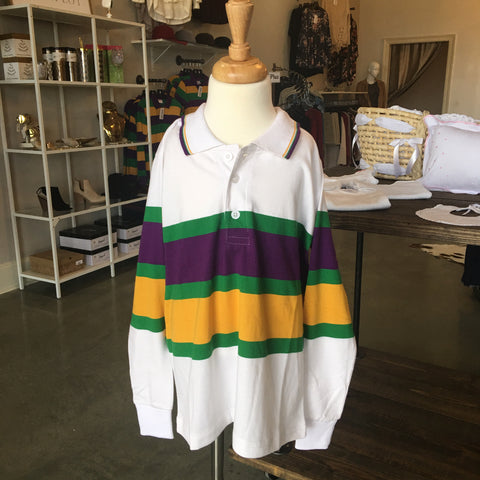 White rugby with stripes Mardi Gras Long Sleeve