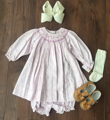 Pink and Purple Floral Smocked Dress
