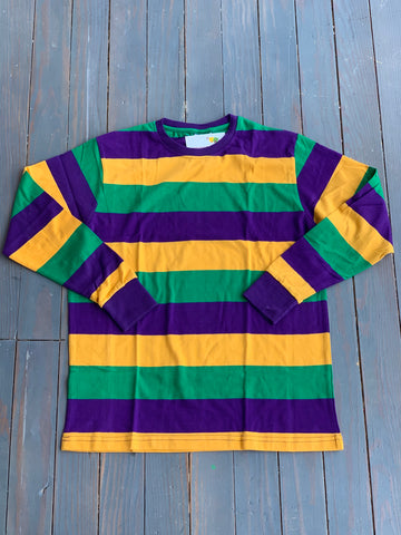 Adult Mardi Gras Striped Long Sleeve