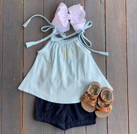 Navy & Light Blue Short Set