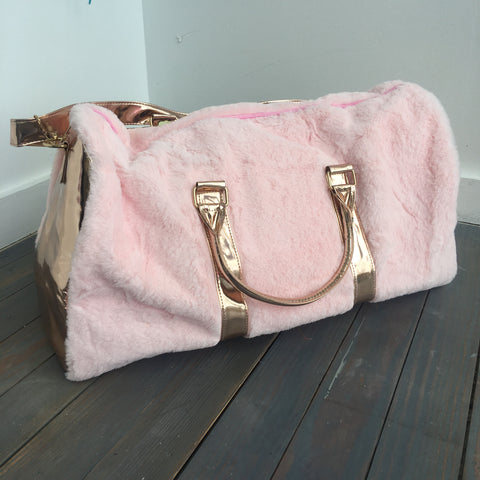Rose Gold Fur Travel Duffle