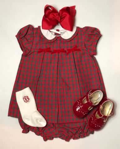 Red & Grey Plaid Bloomer Set