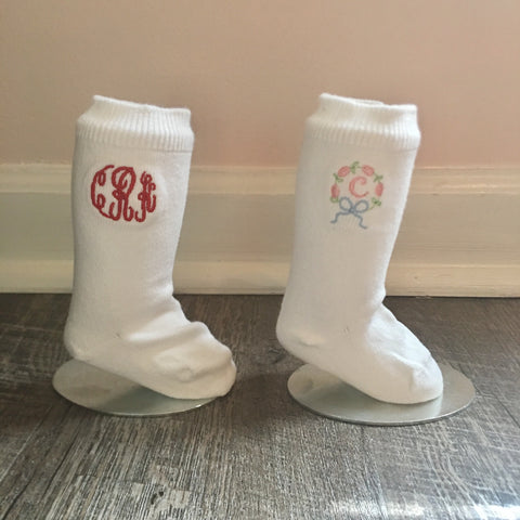 Monogrammed Knee Highs