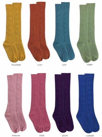 Cable Knit Colored Knee Highs