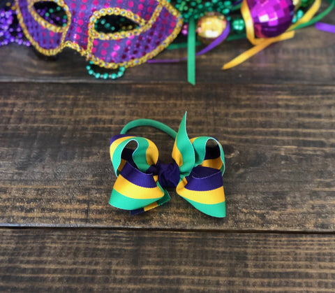 Mardi Gras Stripe Bow Headband