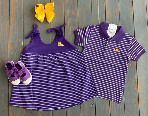 LSU Stripe Polo