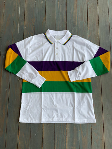Adult White Rugby Mardi Gras Stripe with Collar