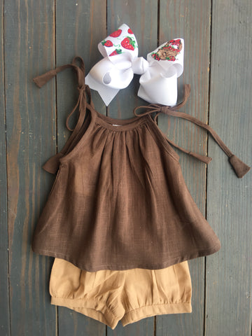 Chocolate & Blush Short Set