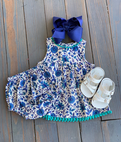 Teal & Navy Floral Dress