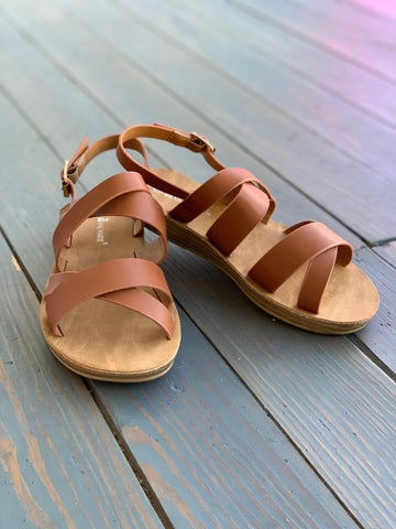 Tan Cross Strap Sandal