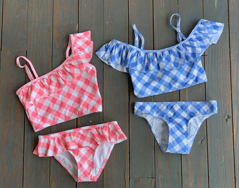 Blue & White Plaid Swim