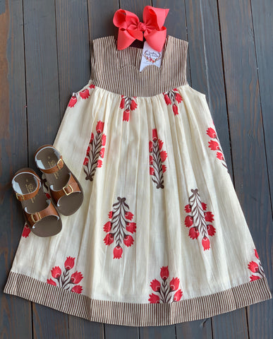 Ivory Striped Scalloped Dress