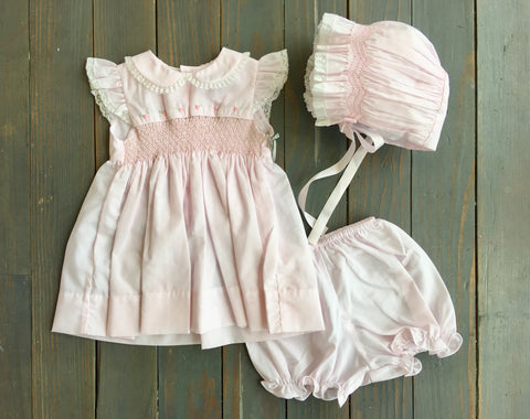 Pink Smocked Rose Dress