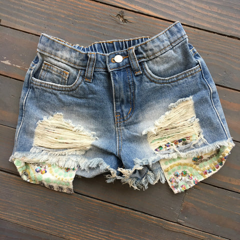 Distressed Denim Shorts w/ Sequin Pocket