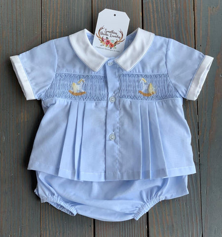 Blue Pony Smocked Bloomer Set