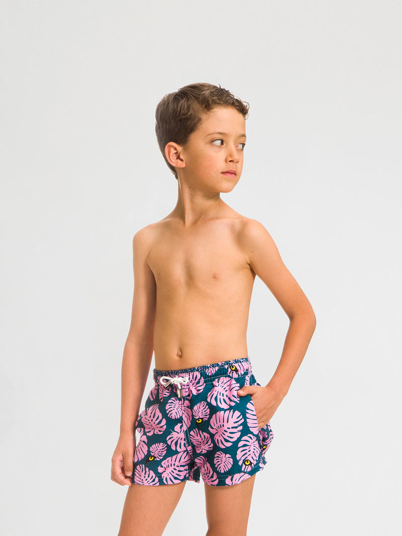 Traje de Baño para Niño Color Verde con Estampado Rosa - Selva Green - Sea Salt 2020