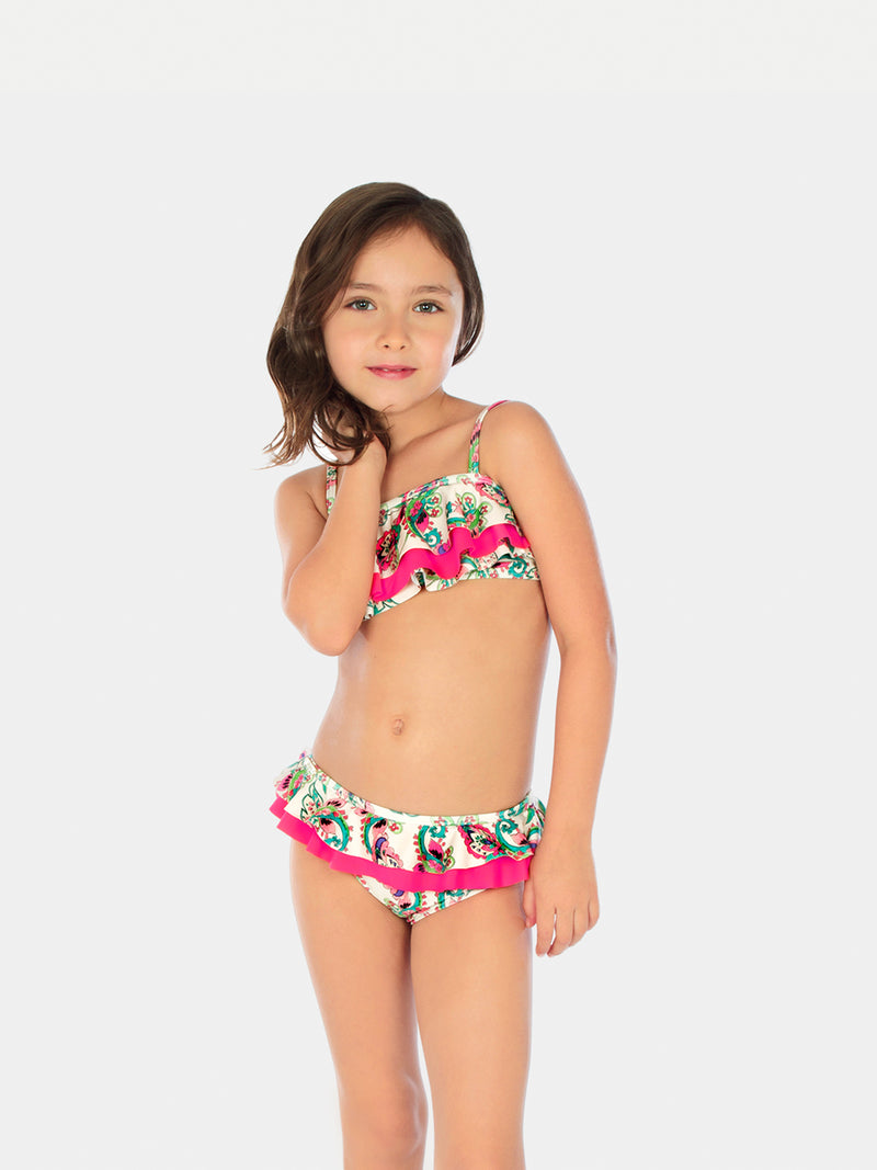 Traje de Baño Niña Bikini - Top and Bottom White Cabana - 6 a 12 Años
