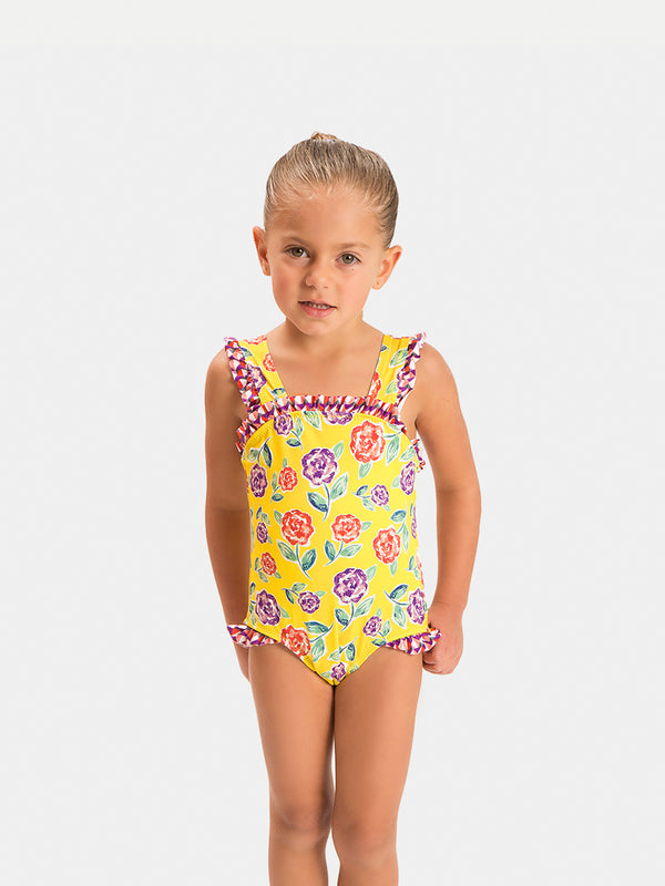 Traje de Baño Niña Bikini - Top and Bottom Yellow Garden - 6 a 12 Años