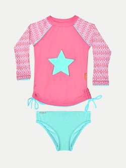 Camiseta UV Niña - Pink Star con bottom