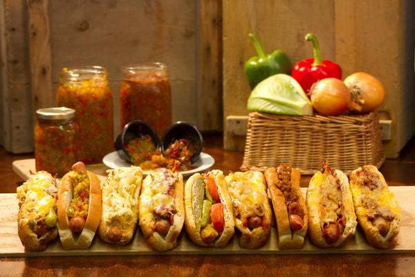 hot dogs with gourmet condiments