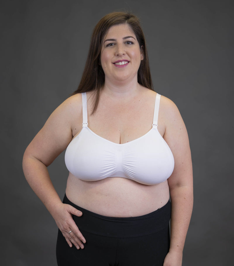 White Everyday Maternity and Nursing Bra with UGrow™ Technology | New Bloom