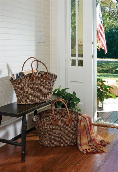 Magazine Baskets with Leather Handle
