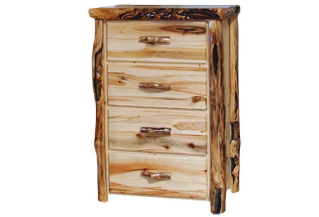 4 Drawer Chest in Flat Front (33″W)  in Wild Panel & Gnarly Log