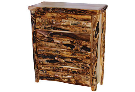4 Drawer Chest in Log Front (39″W)  in Natural Panel & Gnarly Log
