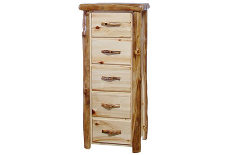 5 Drawer Chest in Flat Front (24″W)  in Natural Panel & Natural Log