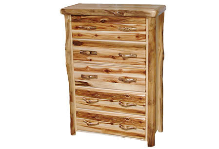 5 Drawer Chest in Flat Front (39″W)  in Wild Panel & Natural Log