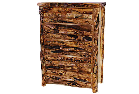 5 Drawer Chest in Log Front (39″W)  in Natural Panel & Gnarly Log