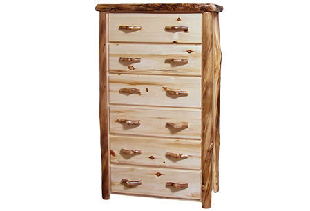 6 Drawer Chest in Flat Front (39″W)  in Natural Panel & Natural Log