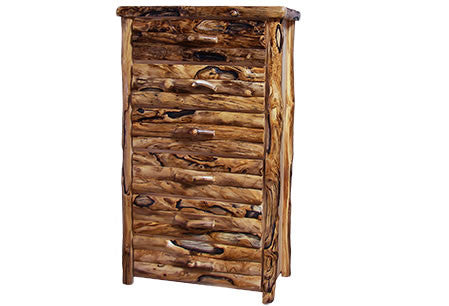 6 Drawer Chest in Log Front (39″W)  in Natural Panel & Gnarly Log