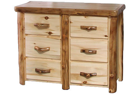 6 Drawer Dresser in Flat Front (48″W)  in Natural Panel & Natural Log