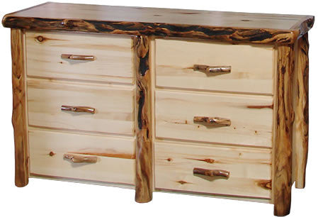 6 Drawer Dresser in Flat Front (60″W)  in Natural Panel & Gnarly Log