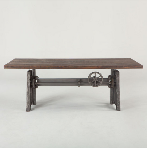 "Industrial Loft Dining Table 84"" Gray top"
