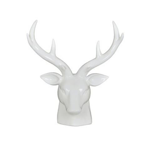 White Deer Head Sculpture