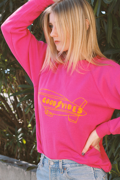 bold vintage sweatshirt with good vibes embroidery detail | Love Faustine