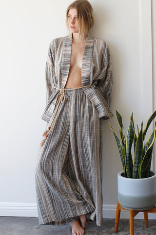 striped wide-leg cotton lounge pants featuring a high-rise pull-on style and elastic waistband | Love Faustine