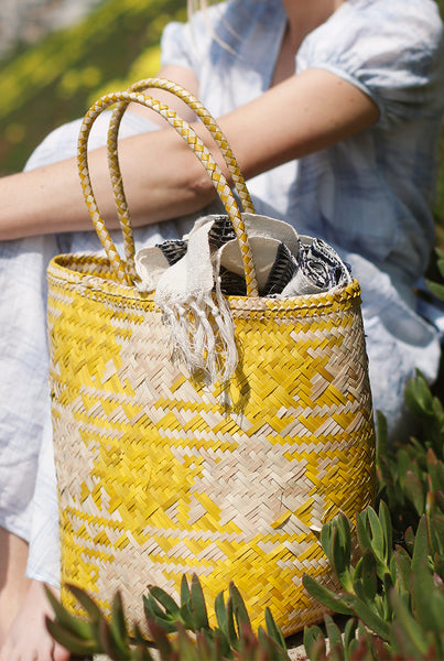 Handwoven Plaid Basket Bag