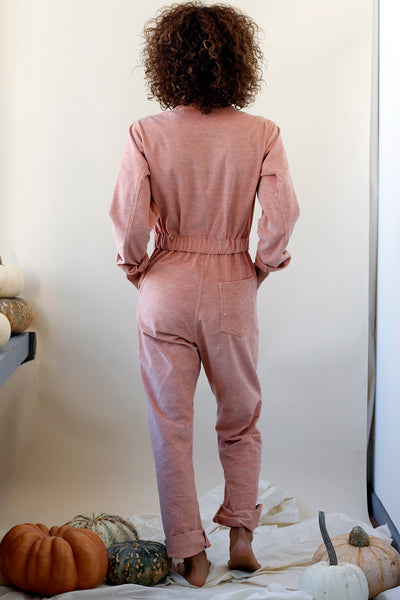 Warm corduroy coveralls with long sleeves in pink