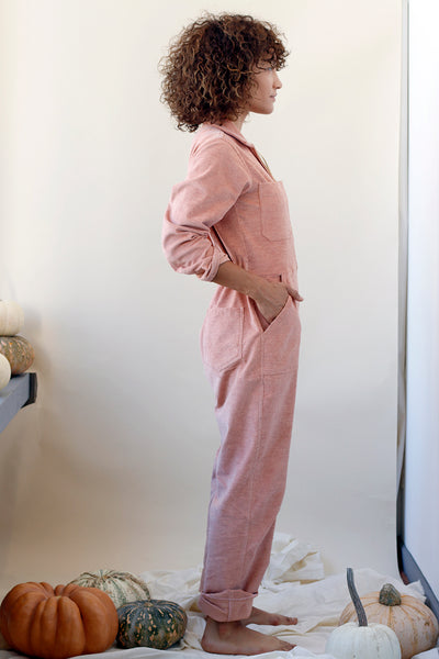 Long sleeve pink corduroy jumpsuit with pockets